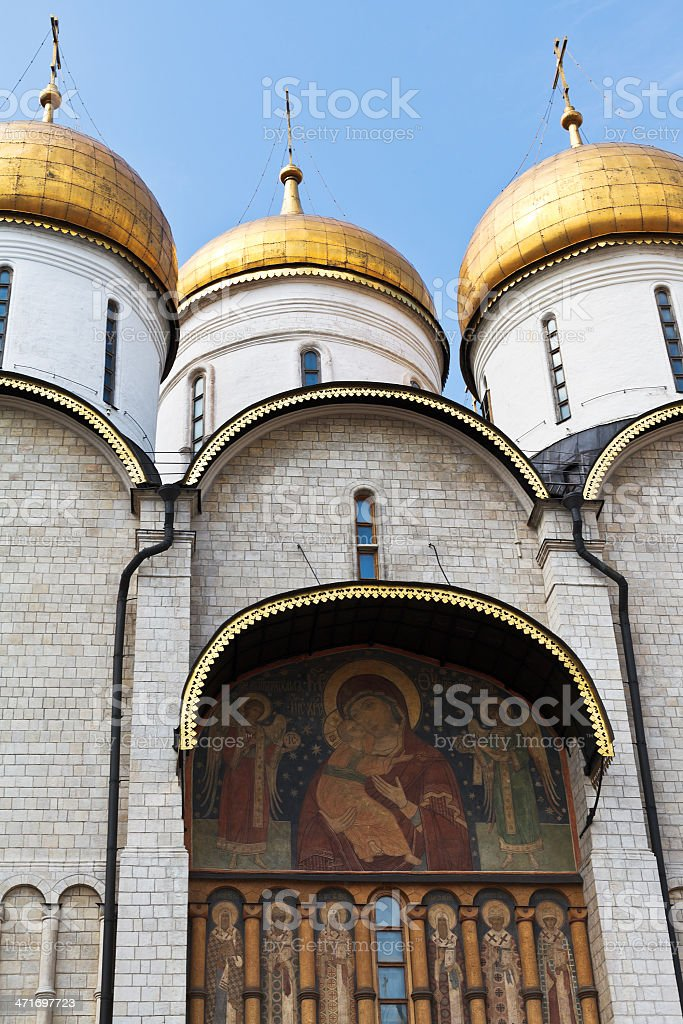 decor of Dormition Cathedral in Moscow Kremlin royalty-free stock photo