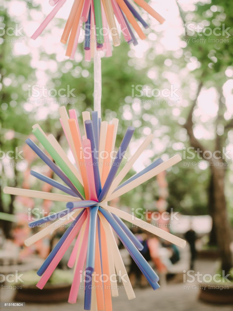 Decorate Outdoor By Diy From Set Of Straws Tube For Outdoor Party