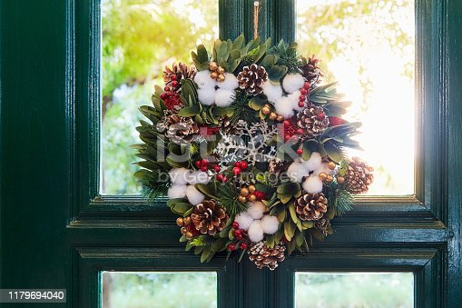 Simple decorations, Christmas wreaths on the house door