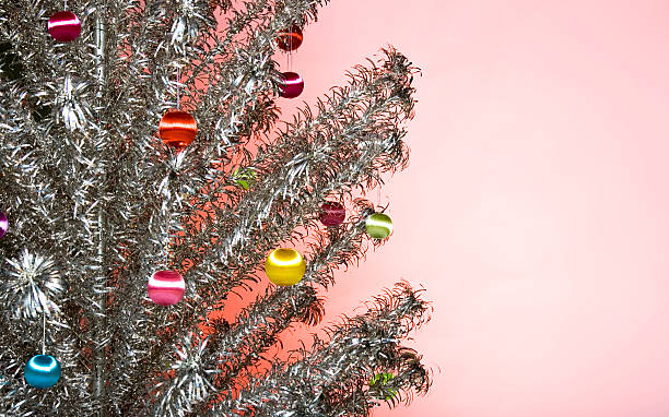 Decorated Aluminum Christmas Tree stock photo
