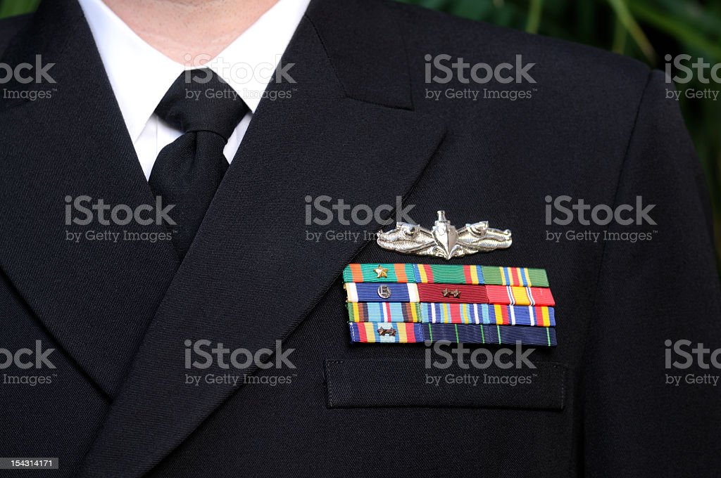 Decorated American Navy Officer Uniform Hero stock photo