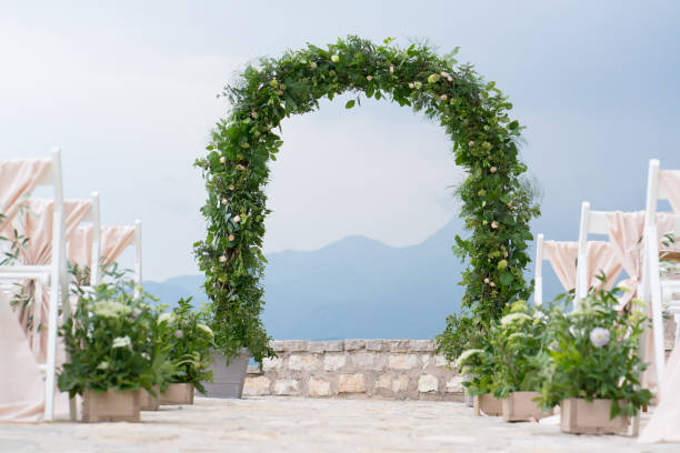 Royalty free wedding decorations marriage decor rustic style bridal decorated arch and chairs at the wedding venue stock photo junglespirit Gallery