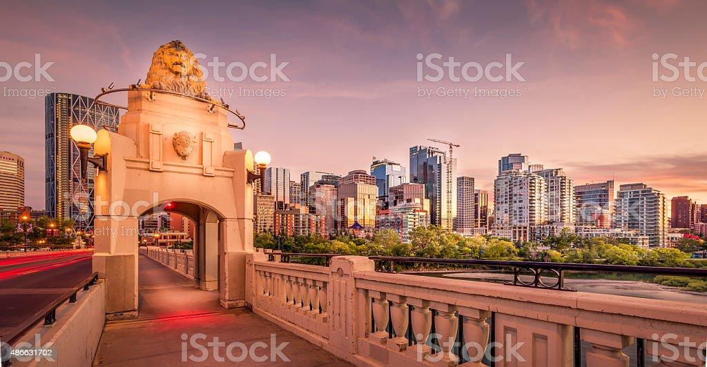 decorated archway on Centre Street bridge Calgary stock photo