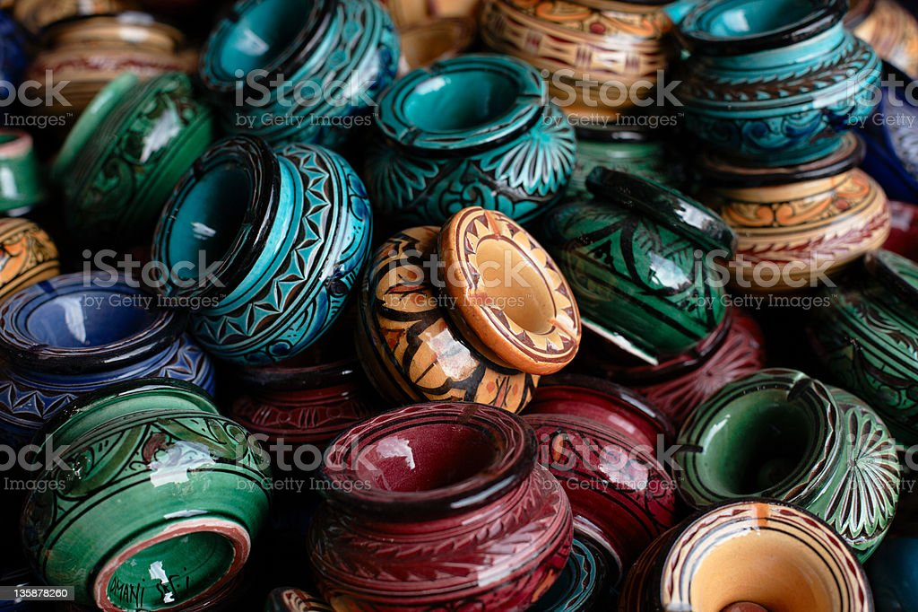 decorated ashtrays and traditional morocco souvenirs royalty-free stock photo