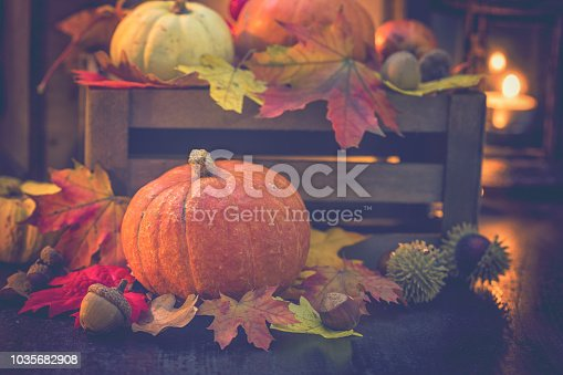 Decorated autumn background with leaves and pumpkins