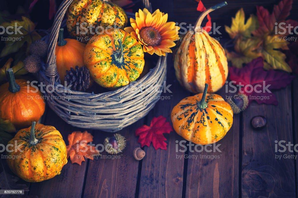 Decorated Autumn Basket stock photo