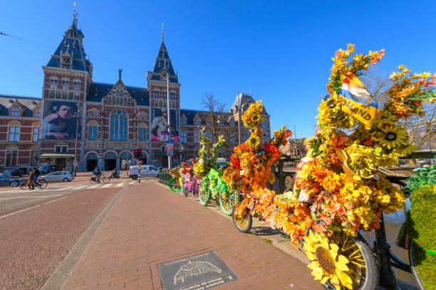 Decorated bicycles on the Museumbridge in front of the Rijksmuseum in Amsterdam Decorated bicycles on the Museumbridge in front of the Rijksmuseum in Amsterdam, The Netherlands during a beautiful springtime morning. rijksmuseum stock pictures, royalty-free photos & images
