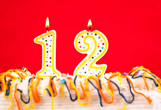 Decorated Birthday Cake With Number 12 Burning Candles Red Background Stock Photo