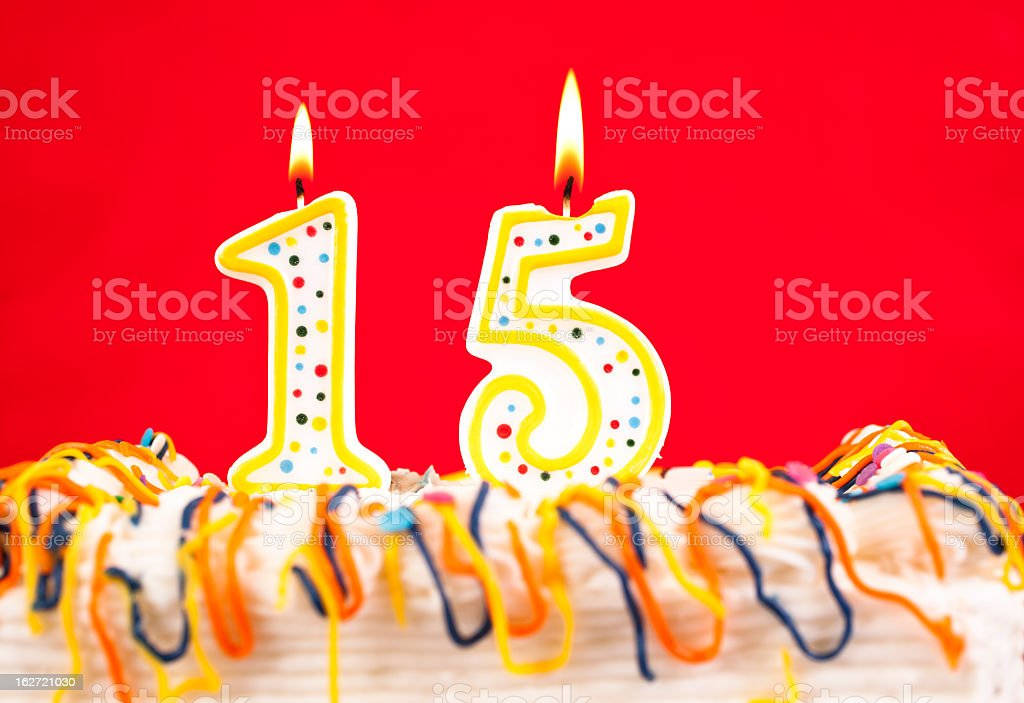 Decorated Birthday Cake With Number 15 Burning Candles Red Background Royalty Free Stock