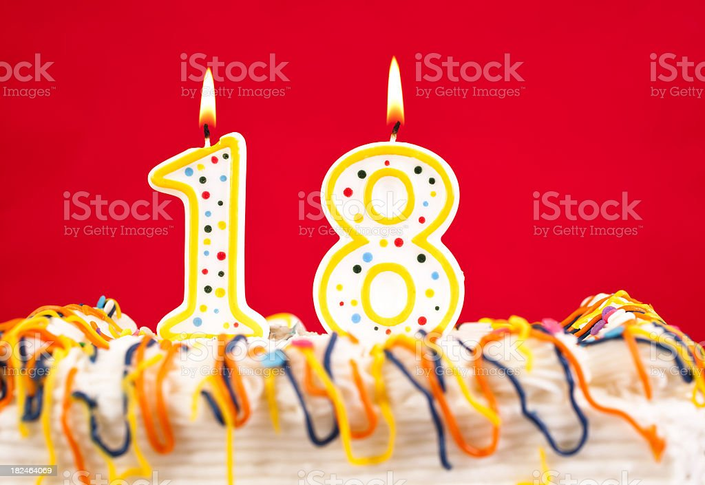 Decorated Birthday Cake With Number 18 Burning Candles Red Background