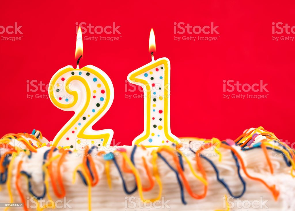 Decorated Birthday Cake With Number 21 Burning Candles Red Background