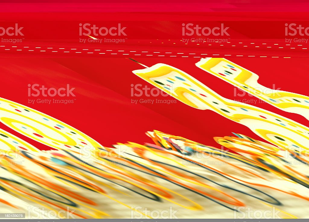 Decorated birthday cake with number 35 burning candles. Red background. royalty-free stock photo