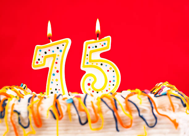 Decorated Birthday Cake With Number 75 Burning Candles Red Background Stock Photo