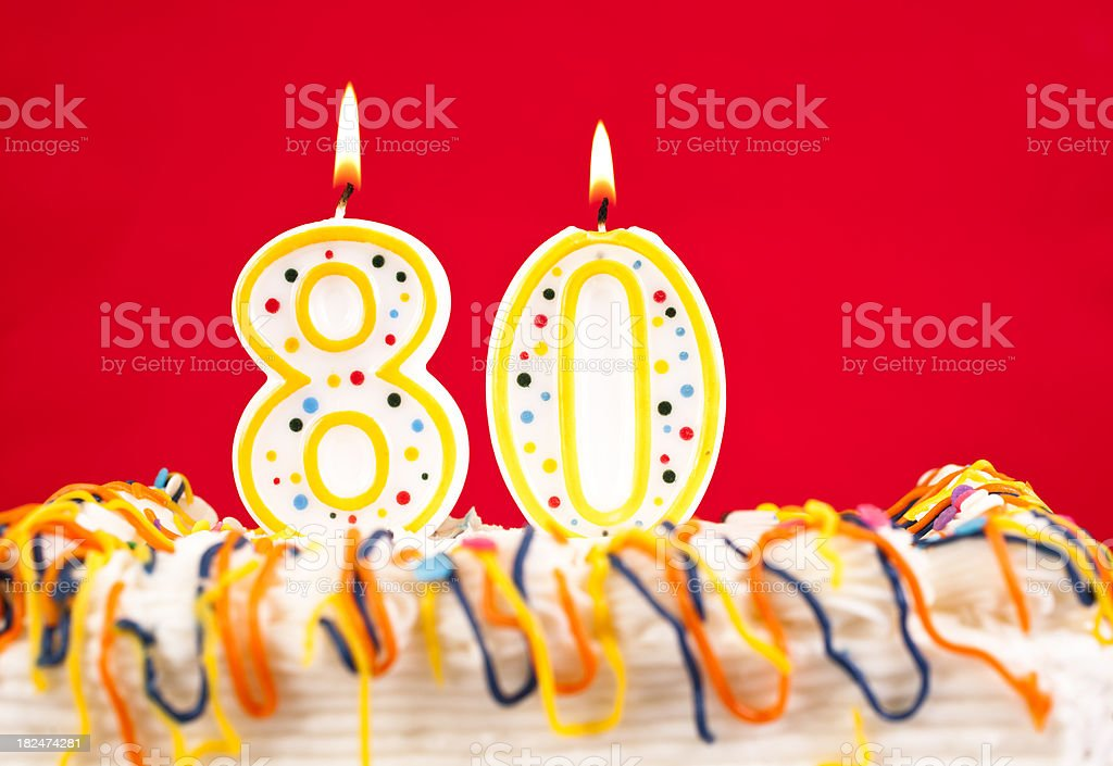 Decorated Birthday Cake With Number 80 Burning Candles Red Background