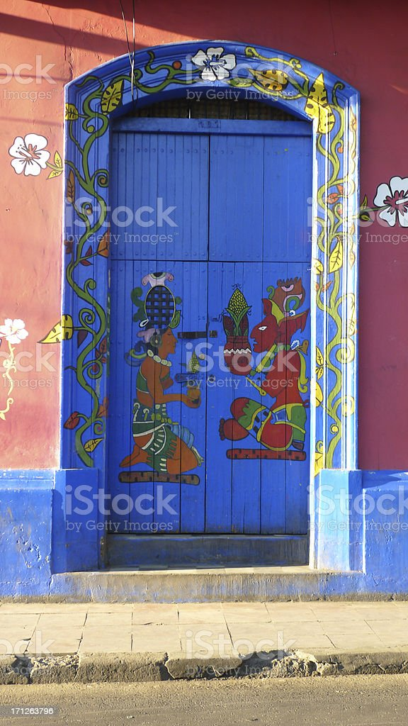 Decorated Blue Door royalty-free stock photo