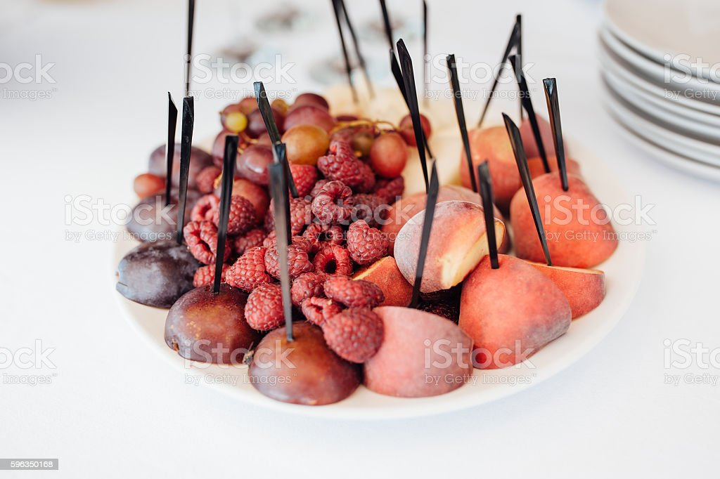 decorated buffet table are cakes and snacks royalty-free stock photo