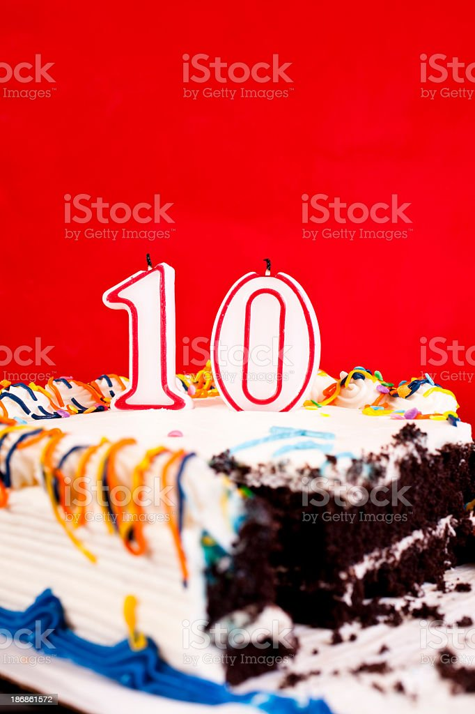 Birthday Cake Candles Candle Confetti Decorated With Number 10