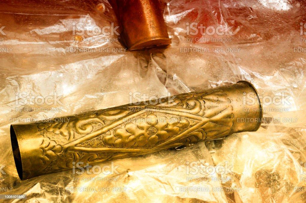 A decorated cannon shell at Bascarsija market in Sarajevo, Bosnia and Herzegovina. stock photo