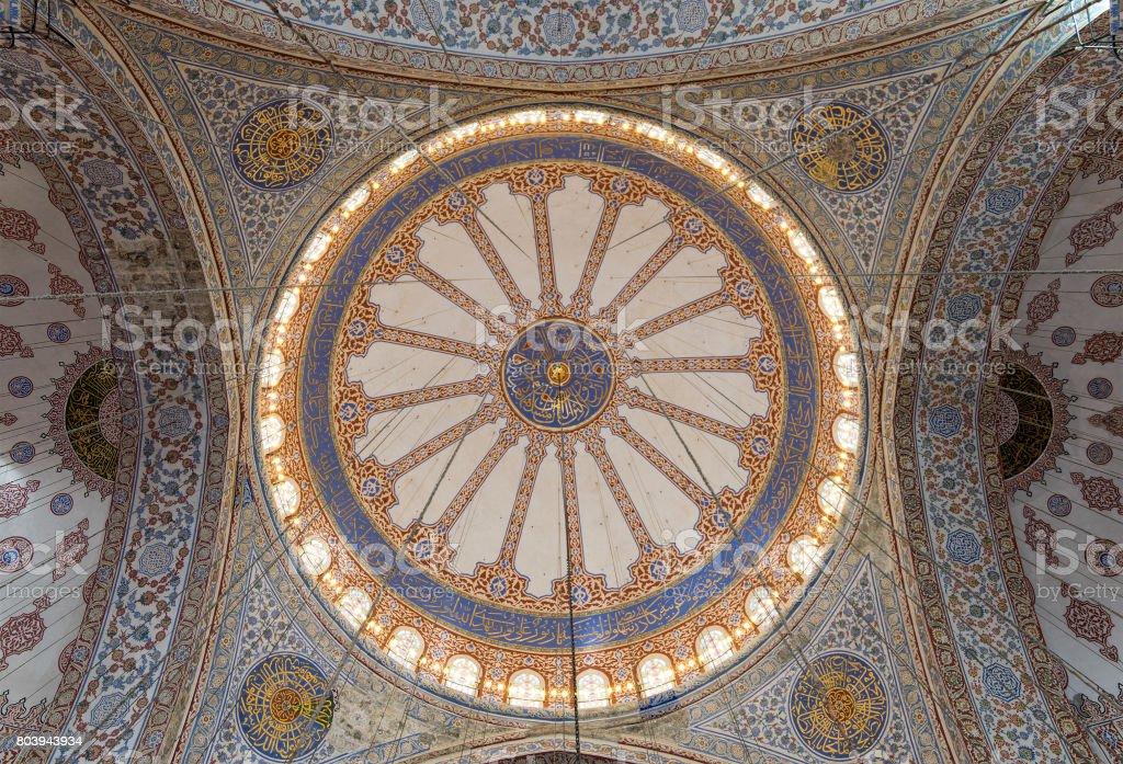 Decorated ceiling at Sultan Ahmed Mosque (Blue Mosque), Istanbul, Turkey stock photo