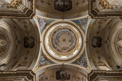 decorated ceiling in Basilica of Santa Maria Maggiore in Bergamo