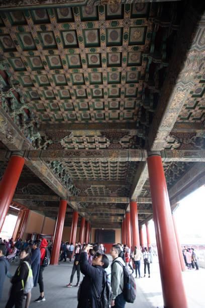 Dekorierte Decken in Innenbereichen des Palastmuseums, Verbotene Stadt Peking – Foto