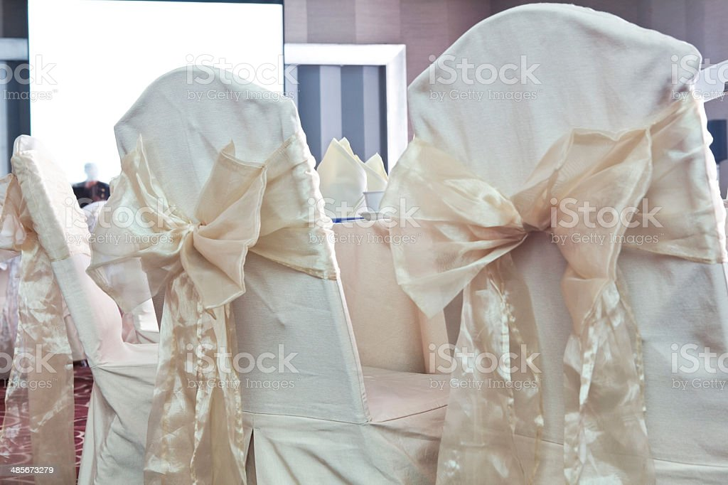 Decorated chairs in banquet hall Bangkok Thailand royalty-free stock photo