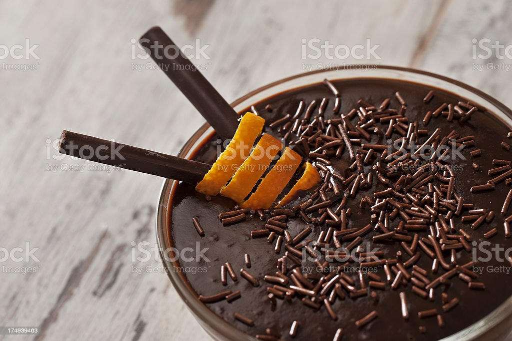 Decorated Chocolate Pudding royalty-free stock photo