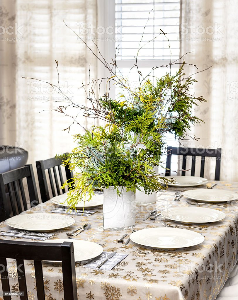 Decorated Christmas dining table royalty-free stock photo