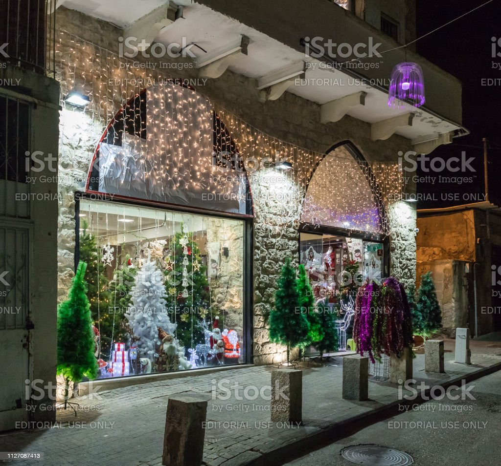 Decorated Christmas Merchandise Store With Artificial Christmas Trees And Toys In Haifa City Israel Stock Download Image Now