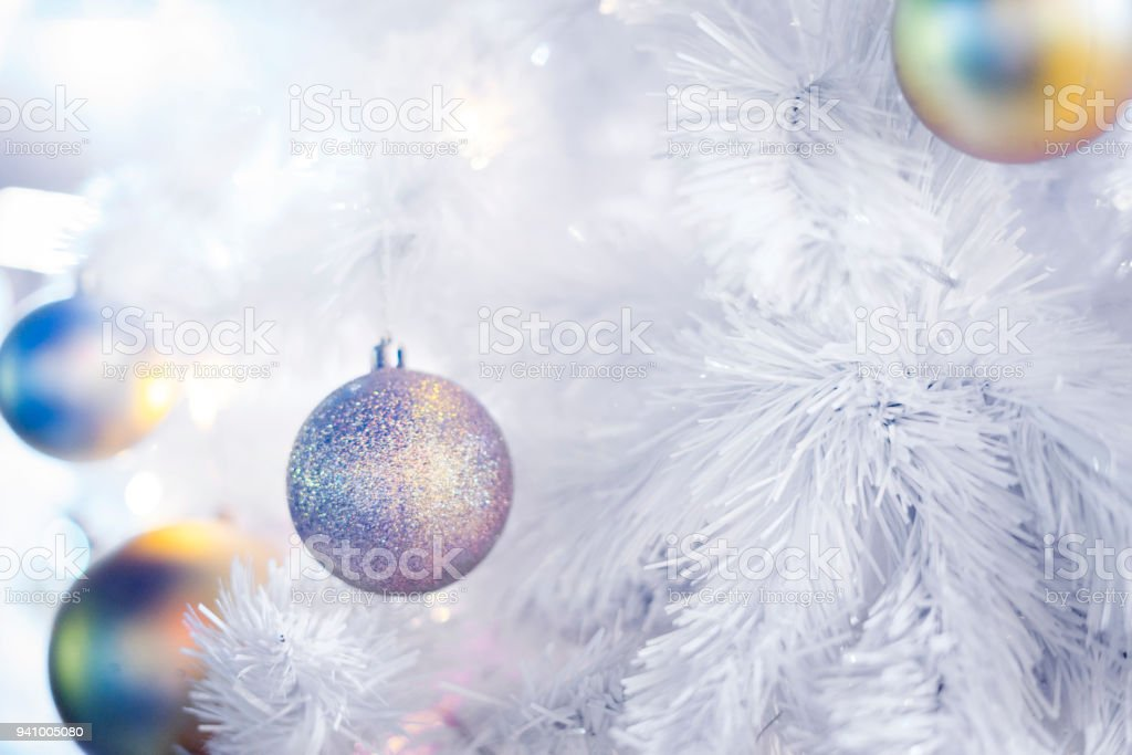 Decorated Christmas on blurred and bokeh background stock photo