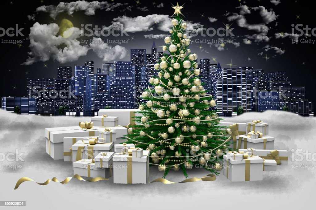 Albero Di Natale Decorato Con Foto.Albero Di Natale Decorato E Regali Sotto La Neve Sfondo Citta Stock Photo Download Image Now Istock