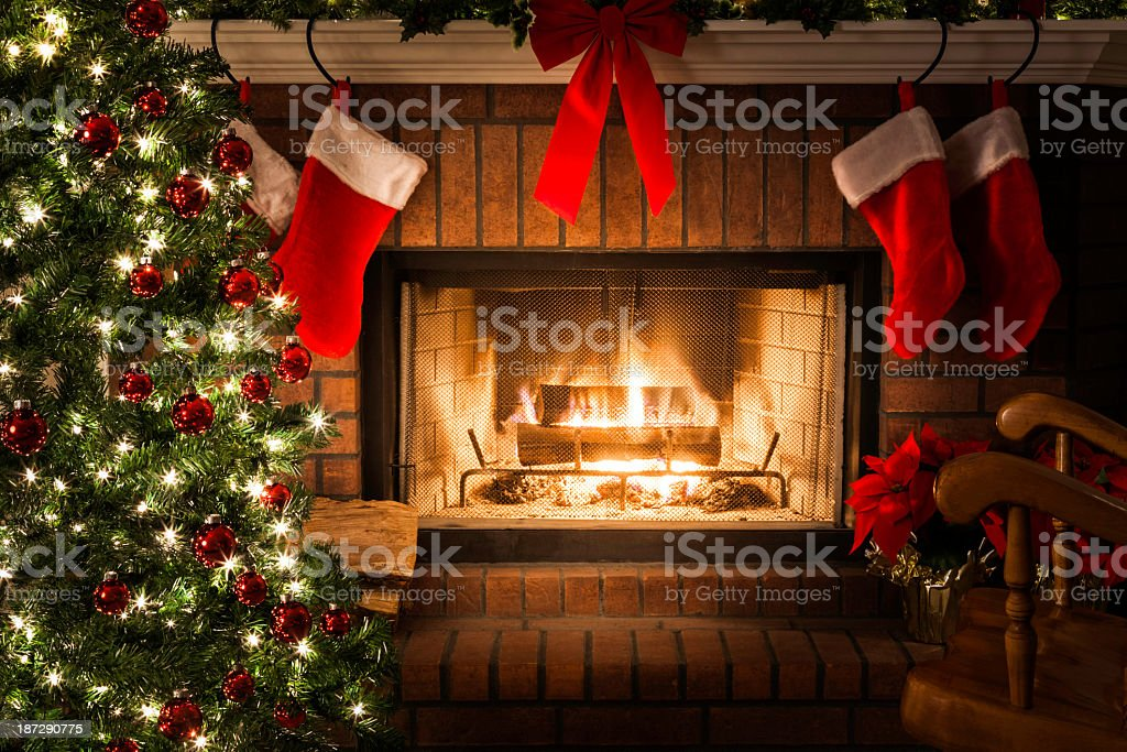 Decorated Christmas Tree Blazing Fire In Fireplace Stockings ...