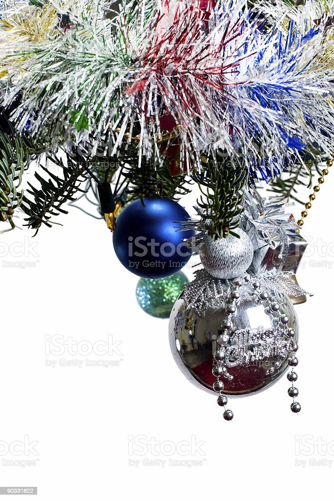 decorated christmas tree branch royalty-free stock photo