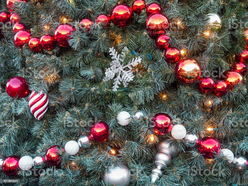 Decorated Christmas Tree Closeup stock photo