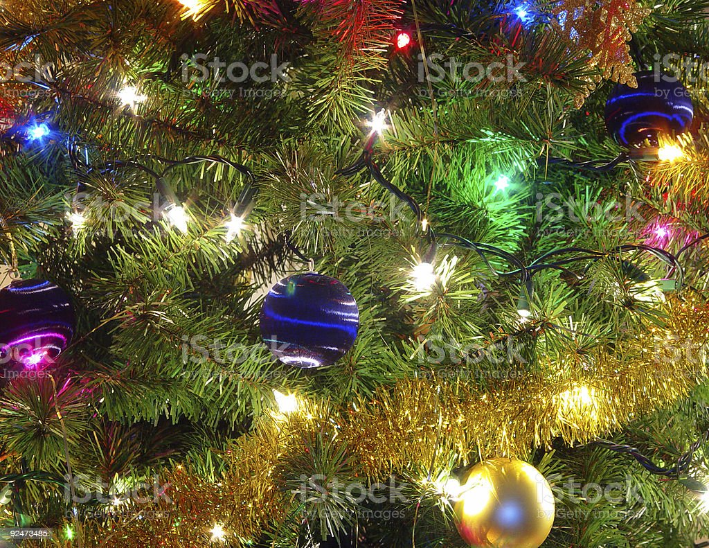 decorated christmas tree fragment royalty-free stock photo