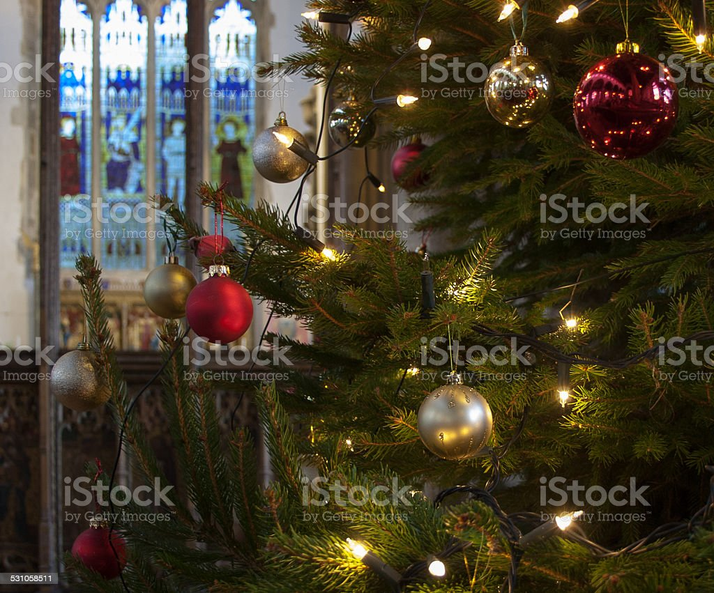 England Christmas Tree.Decorated Christmas Tree In An English Church Stock Photo