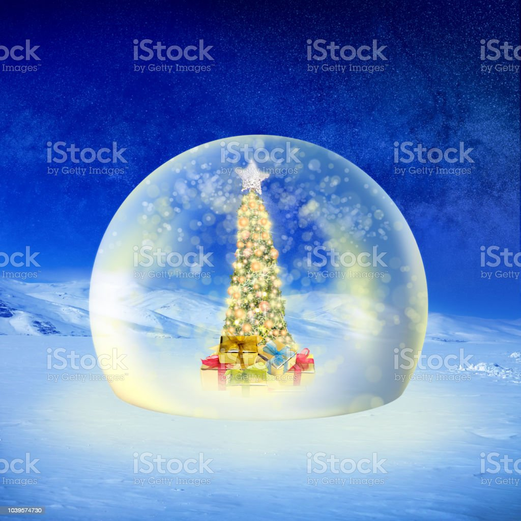 Conceptual image of decorated Christmas tree with colorful lights and...