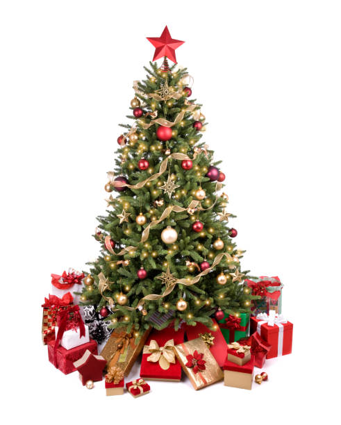 Decorated Christmas Tree in Red and Gold stock photo