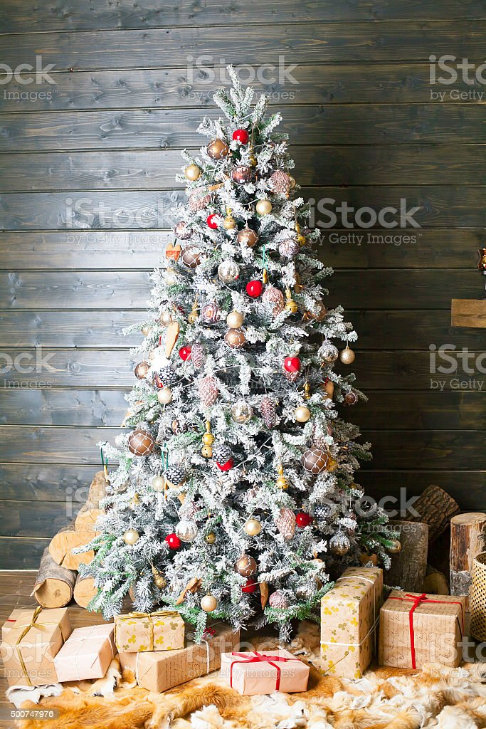 Decorated Christmas Tree In Red And White Colors Stock Photo Download Image Now Istock