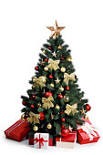 istock Decorated Christmas tree isolated on white 1170077413