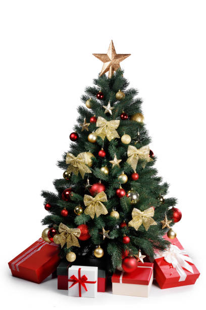 Decorated Christmas tree isolated on white Decorated gold Christmas tree with presents for new year isolated on white background christmas trees stock pictures, royalty-free photos & images