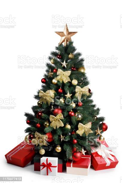 Photo of Decorated Christmas tree isolated on white