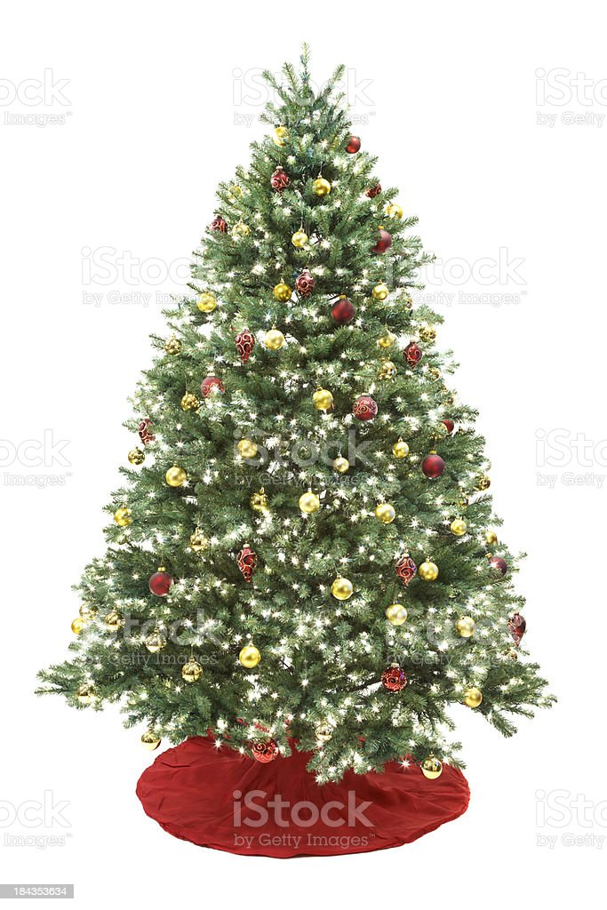 Decorated Christmas Tree Isolated on White royalty-free stock photo