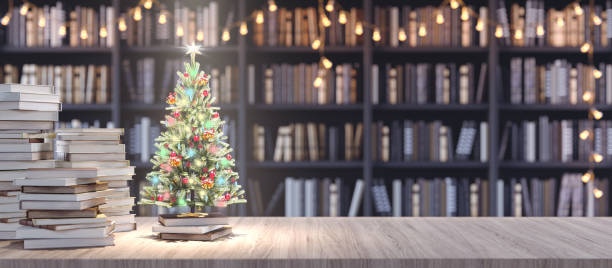 Decorated Christmas tree on Bookshelf in the library with old books, Holidays in Bookstore concept 3d render Decorated Christmas tree on Bookshelf in the library with old books, Holidays in Bookstore concept 3d render 3d illustration bookstore stock pictures, royalty-free photos & images