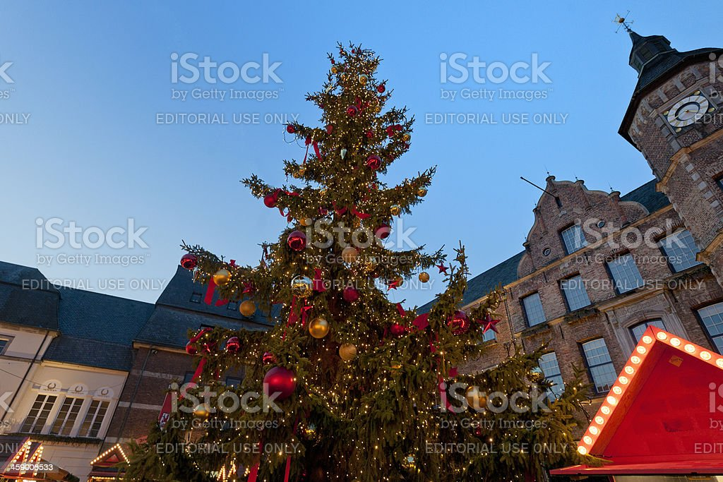 decorated Christmas tree on Marktplatz in Dusseldorf Germany royalty-free stock photo