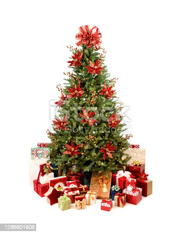 Bright and Colorful Christmas Tree Decorated with Poinsettia Flowers