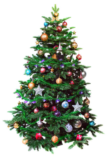 decorated christmas tree - christmas tree stock photos and pictures