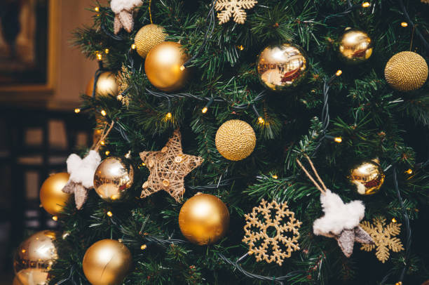 Decorated Christmas tree with balls stock photo