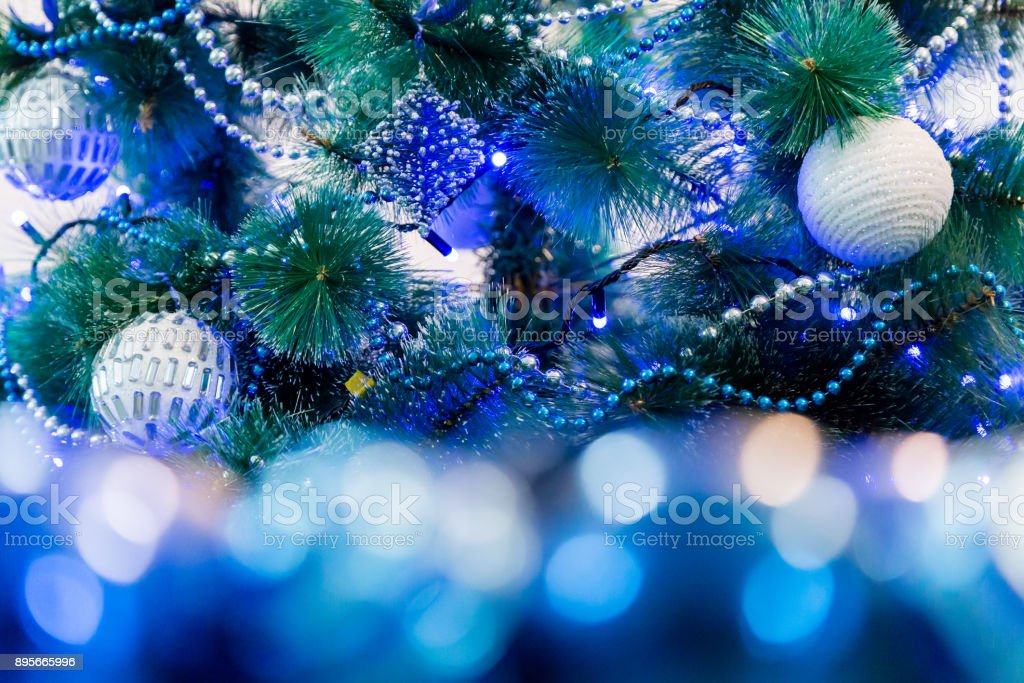 Decorated Christmas Tree With Blue Lights White Christmas Ball And Garland Unfocused Image In The Foreground Stock Photo Download Image Now Istock