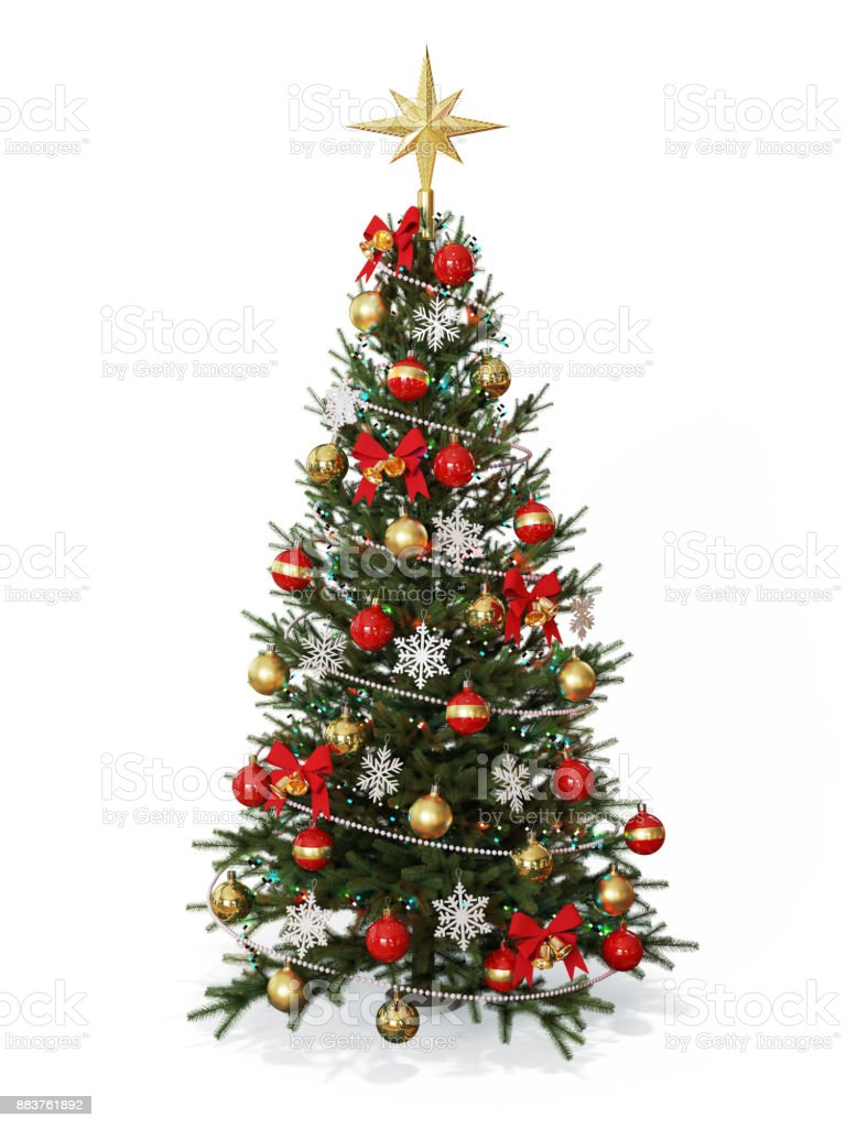 Decorated Christmas  tree with golden star stock photo